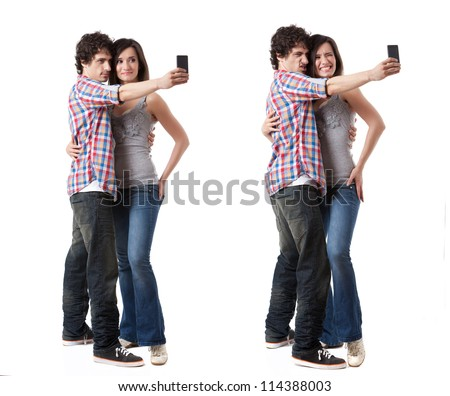 Young couple taking photo with their phone mobile isolated on white background. Two images with different expressions. - stock photo
