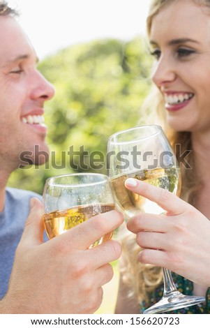 Young couple toasting with white wine while looking at each other - stock photo