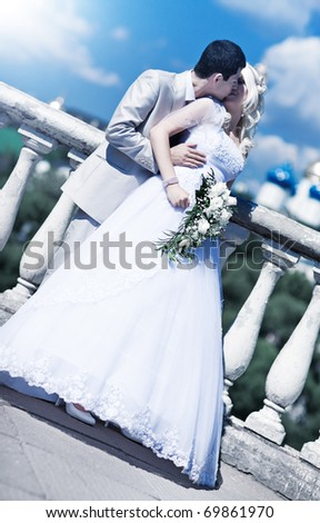Young couple wedding. Bright white colors. - stock photo