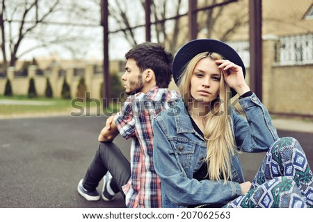 Young couple with relationship difficulties, retro filter - stock photo