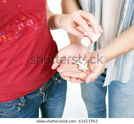young couple woman and man with drugs - stock photo