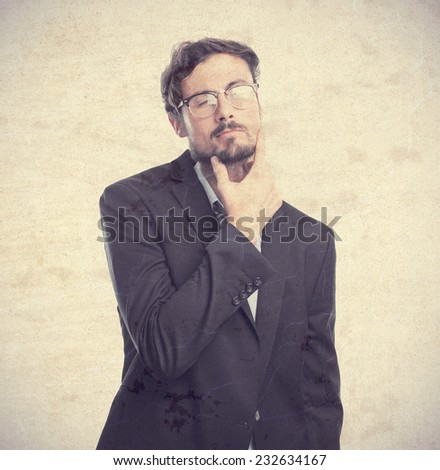 young crazy businessman concentration gesture - stock photo