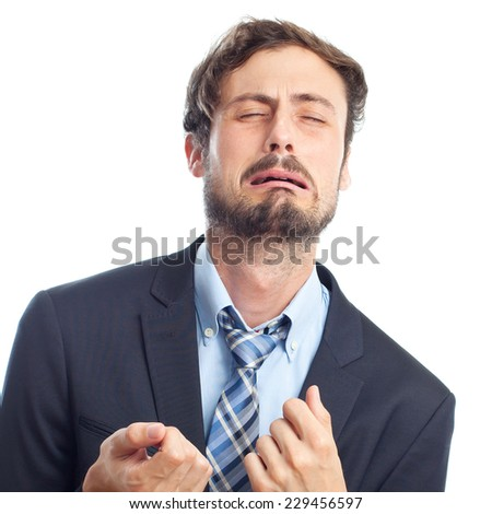 young crazy businessman crying - stock photo