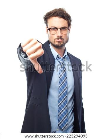 young crazy businessman disagreement gesture - stock photo