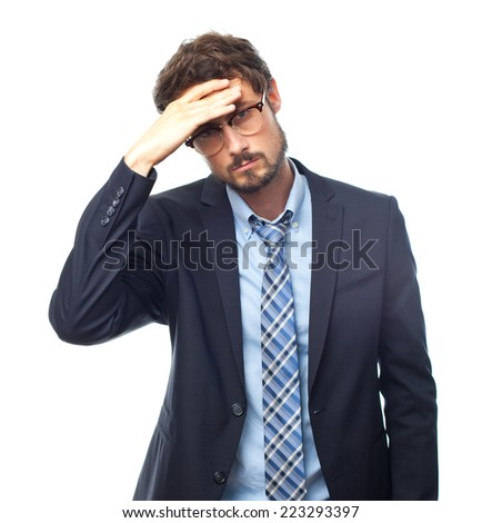 young crazy businessman worried gesture - stock photo