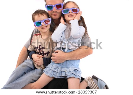 young crazy family on the white background - stock photo
