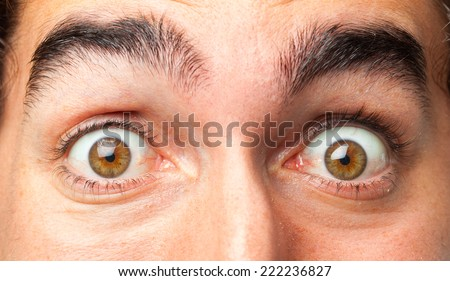 young crazy man close up - stock photo