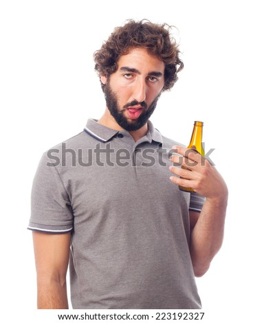 young crazy man drunk concept - stock photo