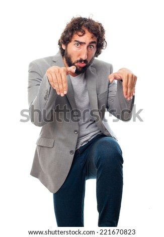 young crazy man fighting - stock photo