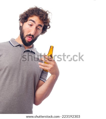 young crazy man with a beer - stock photo