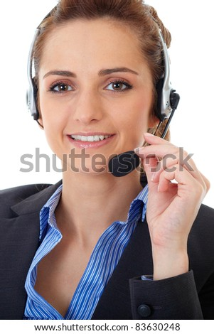 Young customer service operator with headset, isolated on white - stock photo
