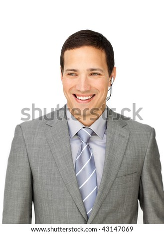 Young customer service representative using headset isolated on a white background - stock photo