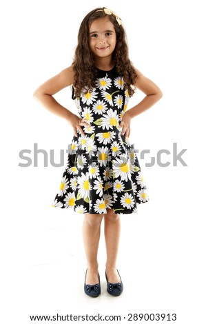 Young cute child smilling using dress - stock photo