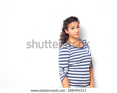 Young cute female with a fun summer look - stock photo