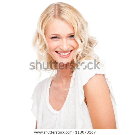 Young cute smiling girl isolated on white - stock photo