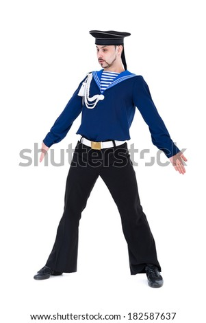 young dancer dressed as a sailor posing. Isolated on white background in full length. - stock photo