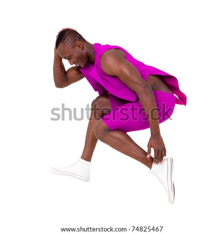 Young dancer jump over a white background - stock photo