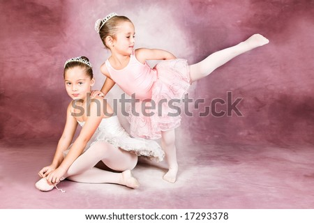 Young dancer wearing a tutu and tiara - stock photo