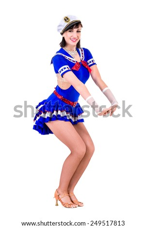 young dancer woman dressed as a sailor posing. Isolated on white background in full length - stock photo