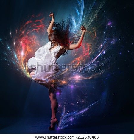 Young dancing with expression girl wearing gorgeous white dress  - stock photo