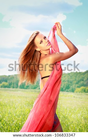 Young dancing woman - stock photo
