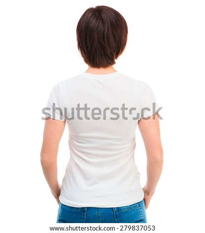 young dark-haired woman in white t-shirt, back against a white background - stock photo