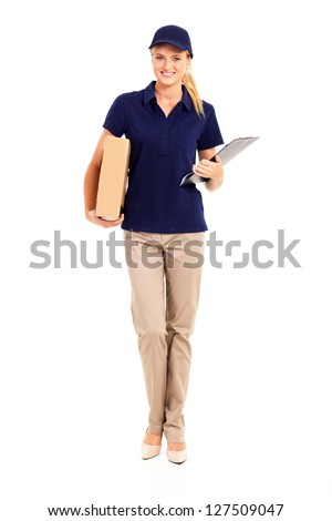 young delivery woman full length portrait on white - stock photo