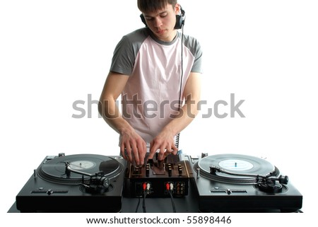 Young disk jockey for the vinyl disks and mixer - stock photo
