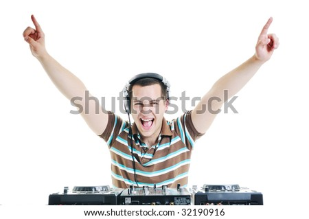 young dj man with headphones and compact disc dj equipment - stock photo