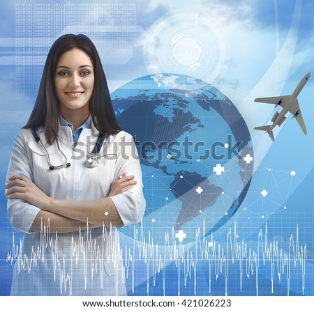 Young  doctor and virtual screen. Medical tourism concept - stock photo