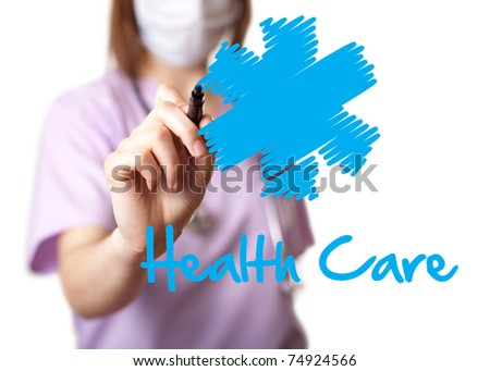 Young doctor is drawing some graphics. isolated on white background. selective focus - stock photo