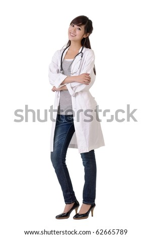 Young doctor of medical smiling, full length portrait of Asian woman isolated on white. - stock photo