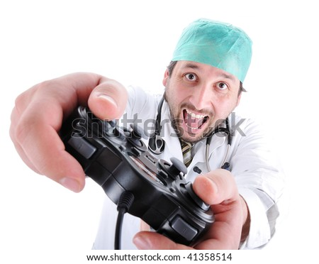 Young doctor playing video games - stock photo