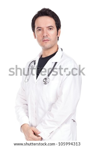 young doctor standing with a stethoscope on the neck - stock photo