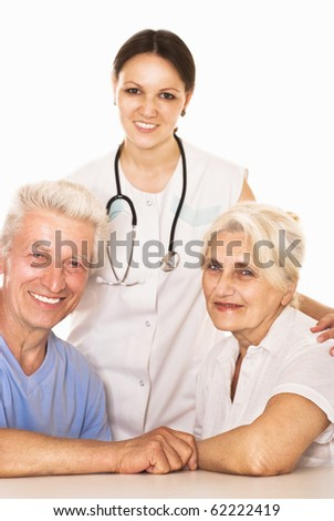 young doctor testing couple on a white background - stock photo