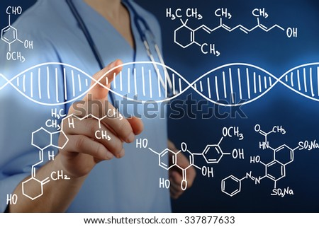 Young doctor working with drawing DNA molecule - stock photo