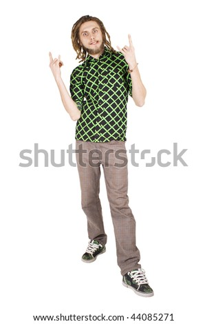young dreadlock man punk gesture isolated - stock photo