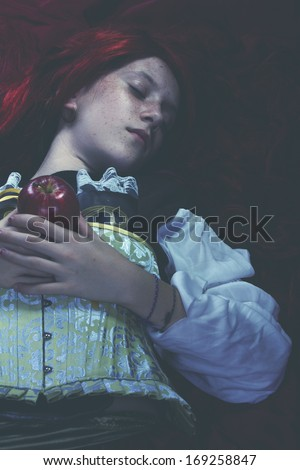 Young drown woman in a poetic representation. fantasy art - stock photo