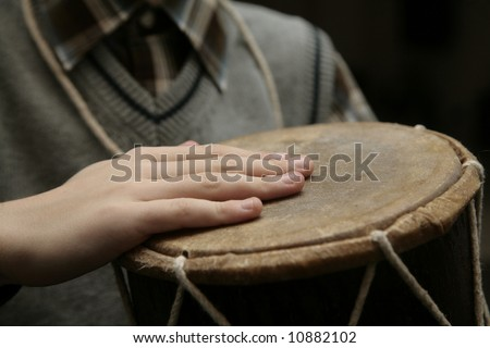 young drummer perfoming first time - stock photo