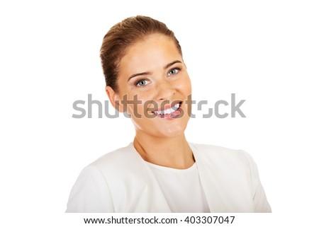 Young elegant blonde smile businesswoman - stock photo
