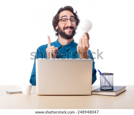 young employee on a table - stock photo
