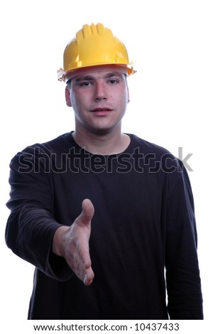 young engineer stay over white background - stock photo