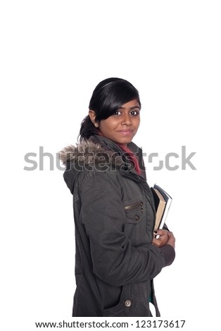 Young ethnic dark Indian high school student holding books, over white. - stock photo