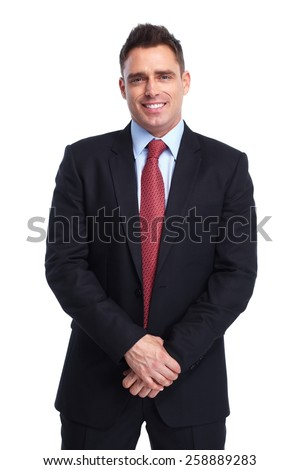 Young executive businessman isolated over white background - stock photo