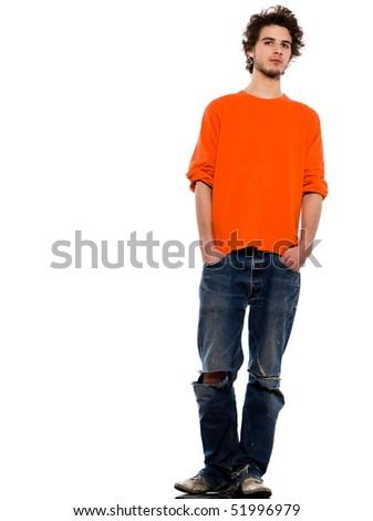 young expressive caucasian man portrait in studio on white background - stock photo