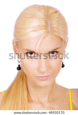 Young fair-haired woman lours, isolated on white background. - stock photo