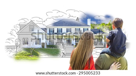 Young Family Facing House Drawing and Photo Combination on White. - stock photo