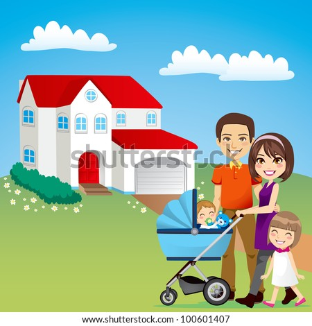 Young family happy outside in front of beautiful new house - stock photo