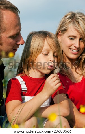 Young family in a meadow - the girl kid blowing dandelion seeds - stock photo