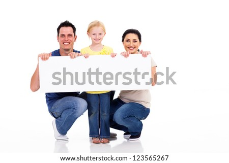 young family with white banner isolated on white - stock photo
